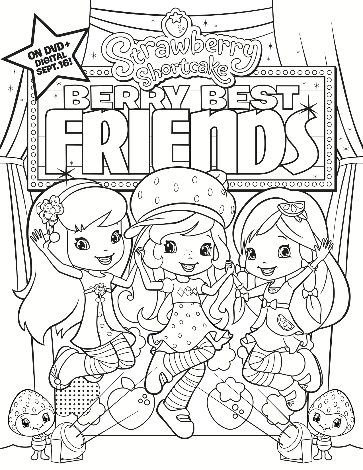 coloring pages strawberry shortcake and friends - strawberry shortcake archives living in random