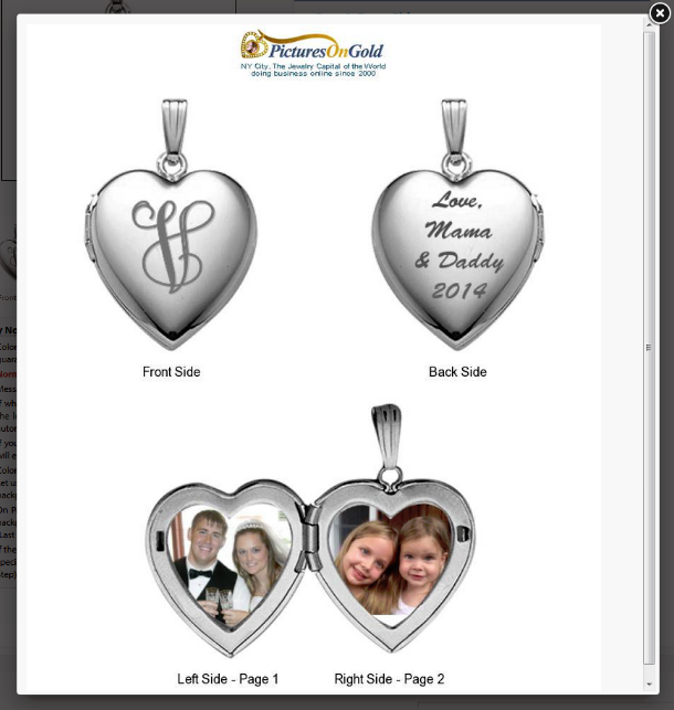Picturesongold.com lockets