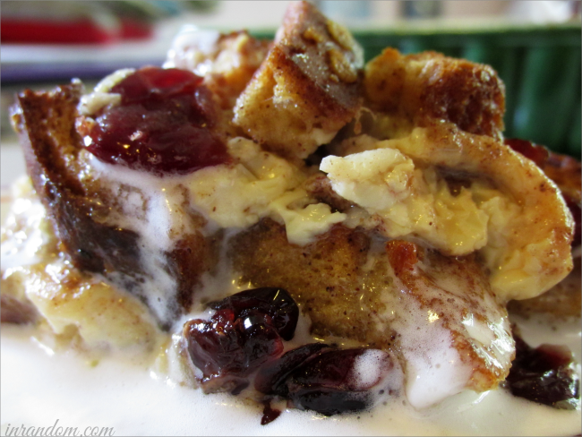 Warm Bread Pudding with Cream