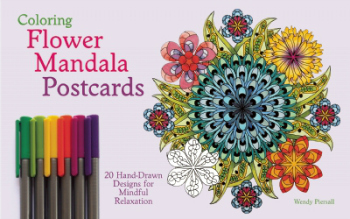 Share on Tumblr Coloring Flower Mandala Postcards 20 Hand-Drawn Designs for Mindful Relaxation By Wendy Piersall